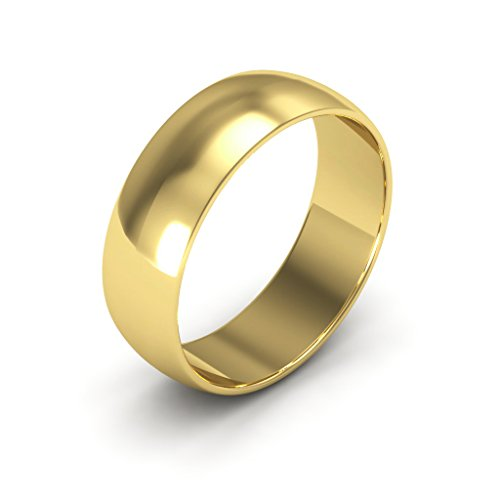18K Yellow Gold men's and women's plain wedding bands 6mm light half round, 6 by i Wedding Band