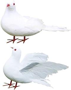 Milisten 2pcs Artificial Feathered Pigeon Birds Fake Doves Artificial Craft Foam Birds for Home Garden Wedding Decorations
