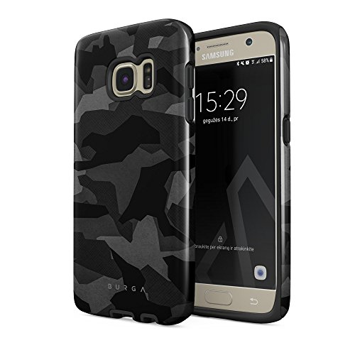 BURGA Phone Case Compatible with Samsung Galaxy S7 Case Night Urban Black and White Camo Camouflage Heavy Duty Shockproof Dual Layer Hard Shell + Silicone Protective Cover