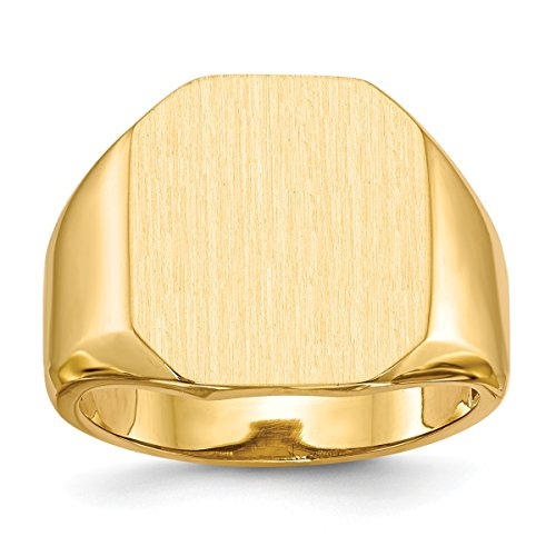 - Roy Rose Jewelry Mens Tapered Square Signet Ring Free Custom Personalized Engraving with 3 Letter Monogram in Solid 14K Yellow Gold