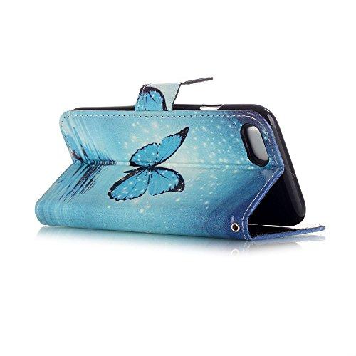 Apple iPhone 7Sac étui Cover Case de protection Bleu decui Bleu Papillon en étui de protection en cuir