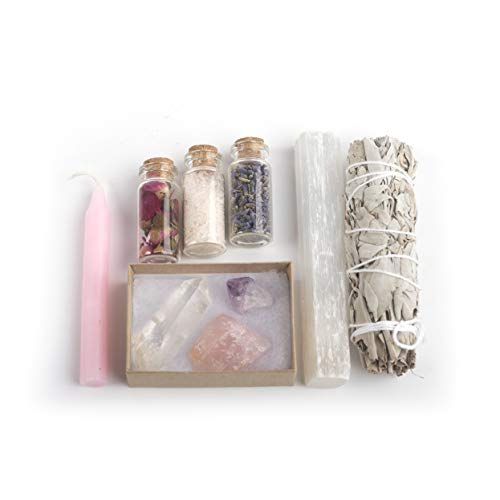 White Sage Smudging Kit, for Home Cleansing, Incense, Premium, Handmade, Sage Stick, Crystals, Lavender, Himalayan Salt, Rose Buds, Spell Candle, Selenite Crystal Wand