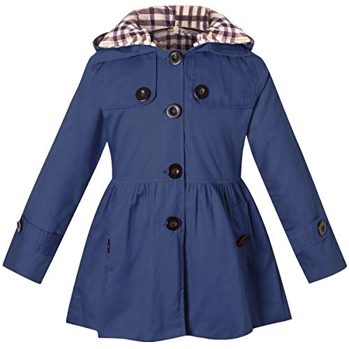 Girl's Long Sleeves Chino Cotton Winter Quilted Hooded Trench Coat Outerwear, B-Navy, 9-10 Years=Tag ()