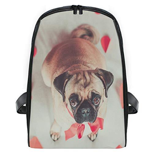 Orange Zebra Mini Backpack - Love Heart Pug Puppy Dog School Backpack For Girls Kids Elementary School Bag Mini Backpacks