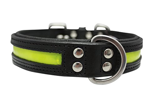 Angel Pet Supplies Leather Reflective Collar, 22 by 1.25-Inch, Black