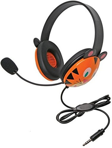Califone 2810-TTI Tiger Motif Listening First Headsets with To Go Plugs, Adjustable headband for personalized fit, Smaller overall headband to fit younger children, Rugged ABS plastic construction for classroom safety