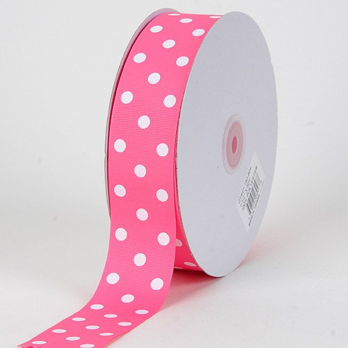 Hot Pink with White Dots Grosgrain Ribbon Polka Dot 3/8 inch 50 Yards