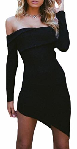 Shoulder Black Sleeve Womens Jaycargogo Sweater Long Irregular Dress Bodycon Off qzxZ1E