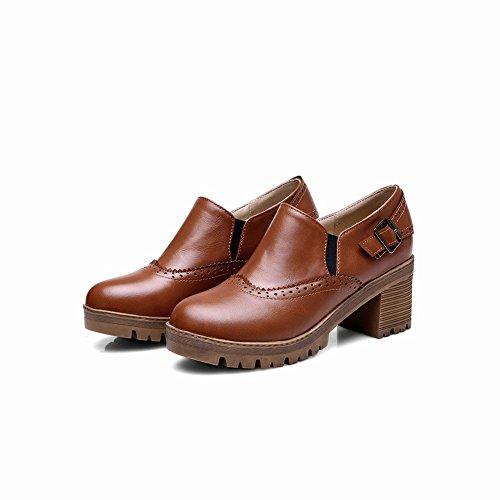 Carolbar Womens Buckle Bungee Retro Vintage Fashion Ruige Mid Heel Casual Damesschoenen Bruin