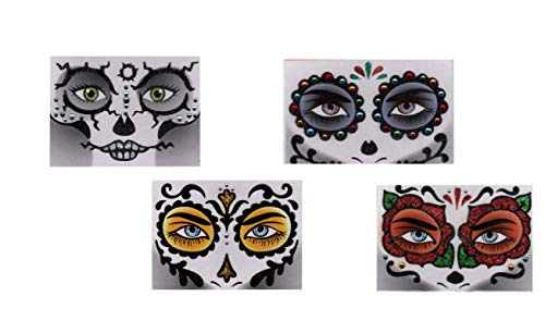 Halloween Face Art Stickers, 4 Pack Skull/Day of the Dead