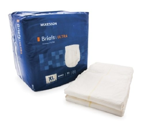 Adult Disposable Ultra Brief Diaper, XL, Extra Large, Heavy Absorbency, Tab Closure, McKesson BRULXL - Case of 60
