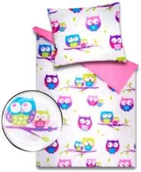 Akuku Baby Bettw/äsche Garnitur mit F/üllung Kinderwagenset Decke Kissen zweiseitig Wiege 100/% Baumwolle