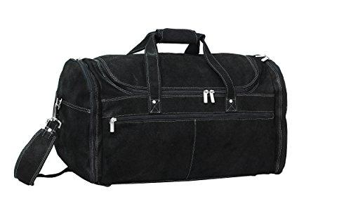 David King & Co. Extra Large Multi Pocket Duffel, Distressed Black (Distressed David Leather King)
