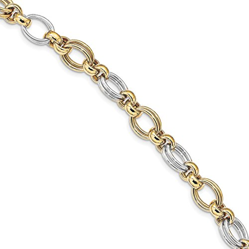 - 14k Two Tone Yellow Gold Link Bracelet 7.5 Inch Fancy Fine Jewelry For Women Gift Set