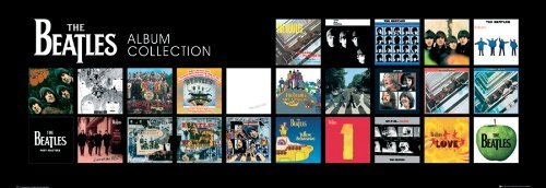 Rock Album Cover Art (The Beatles Album Cover Collage Classic Rock Music Poster Print (13X38 FRAMED POSTER))