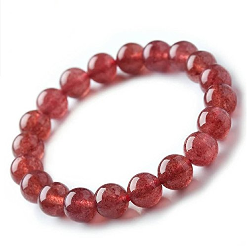 LiZiFang Red Natural Ice Strawberry Quartz Crystal Round Bead Bracelet Stretch Fitness 9mm