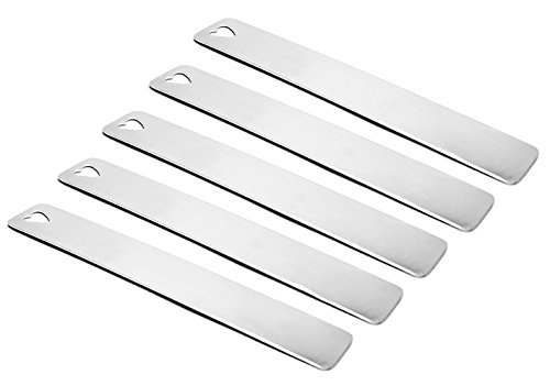 "Five (5) Aluminum Bookmarks with Heart Shaped Cutout - 1"" x 6"" -Finished Stamping Blanks- 16 Gauge - 1100 Aluminum Blanks"