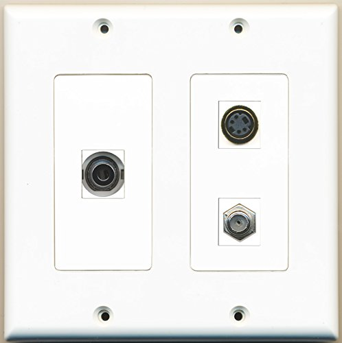 RiteAV - 1 Port Coax Cable TV- F-Type 1 Port S-Video 1 Port 3.5mm - 2 Gang Wall Plate (Mm S-video 3.5 F-type)