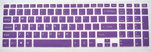 Leze Silicone Keyboard Protector Cover Skin for Sony Vaio All Fit 15,Fit 15E,SVF15,SVF15E,SVF15A Series - Semi Purple
