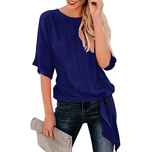 Toimoth Womens Casual Basic Knot Tie Front Loose Fit Half Sleeve Tee Top T-Shirt Blouse(LDark Blue,XL) - Black Beige Backup