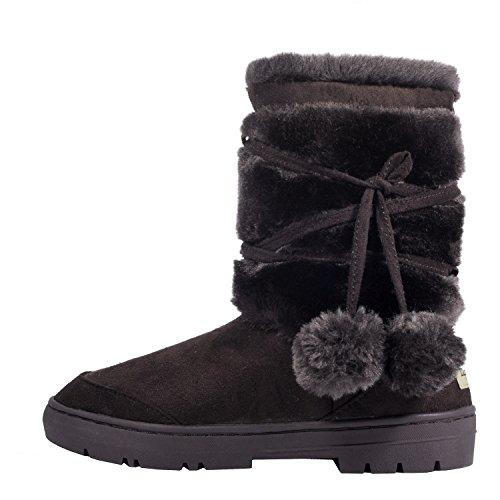 Clpp%27li+Womens+Pom+Pom+Fully+Fur+Lined+Waterproof+Winter+Snow+Boots-Chocolate-7