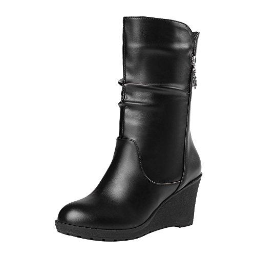 Carolbar Womens Zip Fashion Date Party Wedge Heel Short Boots Black