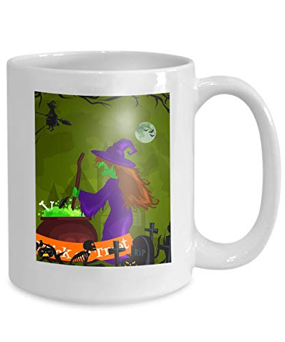 Mug Personalized - Coffee Mug - Personalized Gifts- 11oz White tea cup halloween horror forest woods spooky tree pumpkins cemetery design autumn valley spider web space Simple