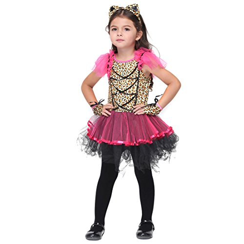 Slocyclub Child's Little Leopard Cat Costume Pink Ballerina Skirt