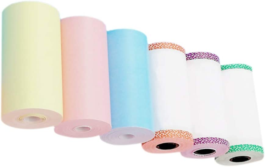 57 6 Pack Thermal Paper Roll Thermal Sticker Printing Paper Colored Thermal Sticker Printing Paper for Bill Receipt Mini Photo Copy 30mm
