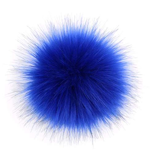 Dr Nezix DIY Navy Faux Fox Fur Fluffy Pompom Ball for Beanies Hats Shoes Scarves Bag Charms Accessories (Navy 12pcs)