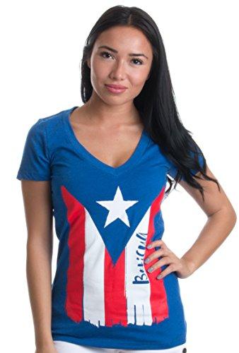 Boricua | Cute PR Puerto Rican Pride, Nuyorican Flag Ladies' Rico V-Neck T-Shirt-(Vneck,S) Royal Blue (Puerto Rican Jersey)