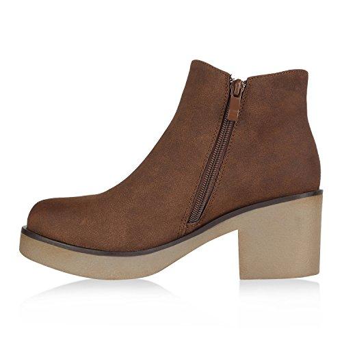Stiefelparadies Damen Stiefeletten Chelsea Boots mit Blockabsatz Profilsohle Flandell Braun