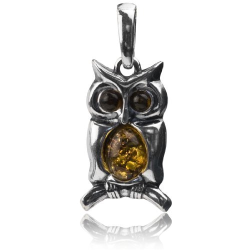 Sterling Silver Amber Owl Pendant Graciana Amber by Graciana 41403