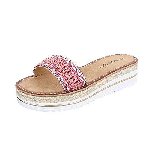 Ital-Design Pantoletten Damenschuhe Sandalen & Sandaletten Rosa Rot