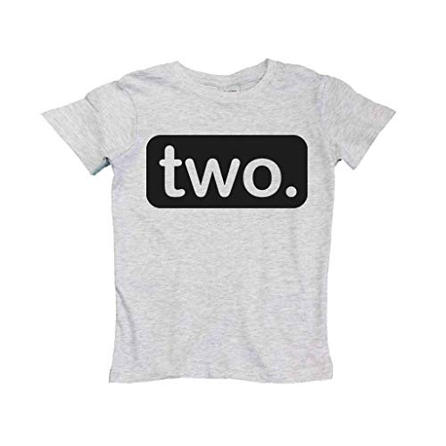 (LSOOCWRL 2nd Birthday Shirt boy 2 Year Old Toddler Kids Outfit Second Two t-Shirt Party (Grey, 2 T))