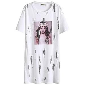 O&YQ Camiseta Blanca de Manga Corta Suelta, Manga Corta, Falda de ...