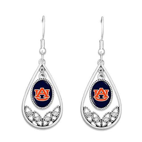FTH Auburn Tigers Logo Silver Tone Tear Drop Hoop Earrings with Clear Rhinestones ()