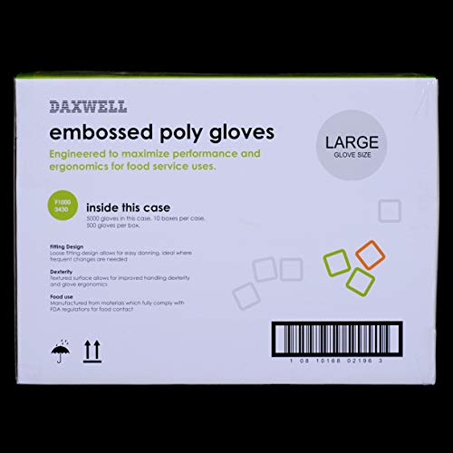 Daxwell F10003430 Gloves, Embossed Poly Gloves, Large (5,000; 10 Boxes of 500) by Daxwell (Image #4)