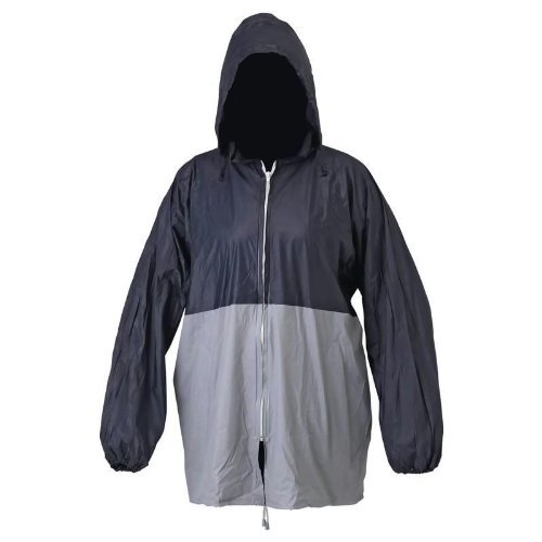 All-Weather Blue/Gray Rain Jacket With Pouch Elastic Wristbands Drawstring Waist GFRAINML