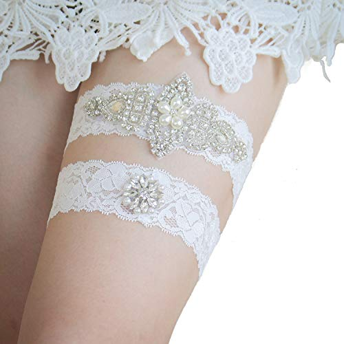 shinyis Ivory Lace with Rhinestone Wedding Bridal Garter Set for Bride Dress ()