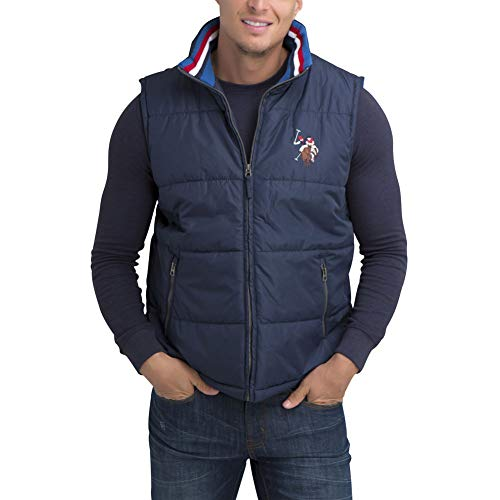 - U.S. Polo Assn. Men's Americana Outerwear Vest Printed Collar Classic Navy S