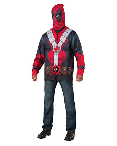 Marvel Deadpool Costume (Marvel Men's Deadpool Costume Hoodie, Multi, X-Large)