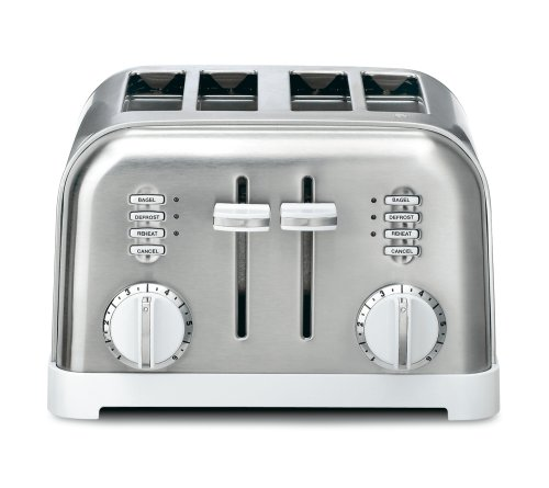 Cuisinart CPT-180W Metal Classic 4-Slice Toaster, White and Stainless (4 Slice White Toaster)