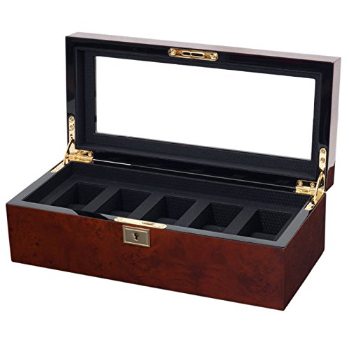 WOLF 461510 Savoy Five Piece Watch Box, Burlwood