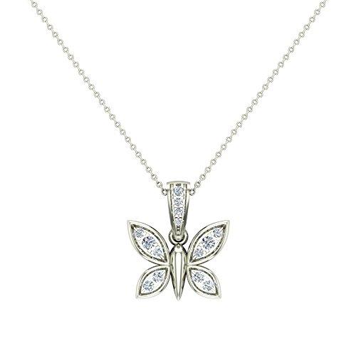 0.17 ct Dragonfly Diamond Necklace Pendant 14K White Gold (P0190) ()