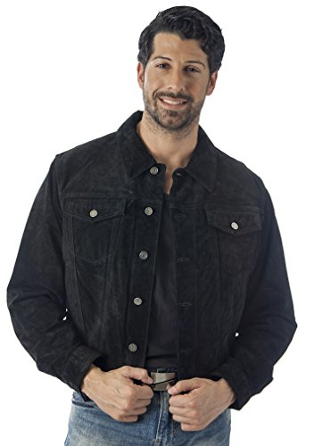 Reed's Men's Western Jean Style Suede Leather Shirt Jacket (M, BROWN)