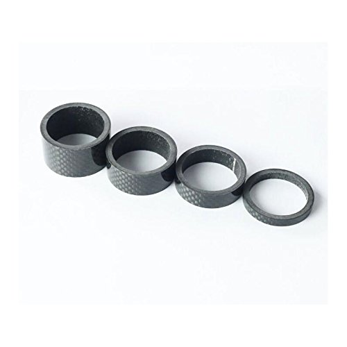 SHORT 1 juego de 4 piezas de separador de diadema para bicicleta de fibra de carbono 5/10/15/20 mm_negro