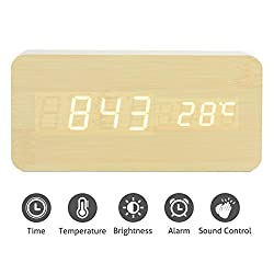 Greenic Wooden Digital Alarm Clock,Battery Operated/USB Powered, Time Date Temperature Display, 3 Alarm Sets Rectangular
