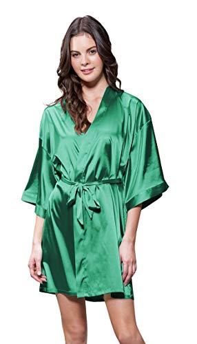 (Turquaz Linen Satin Kimono Bridesmaids Robe (XX-Large, Lush Meadow Green))