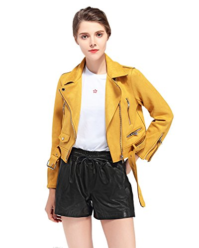 LY VAREY LIN Women's Faux Suede Leather Biker Jacket Belted Coat with Zipper (L, Yellow)
